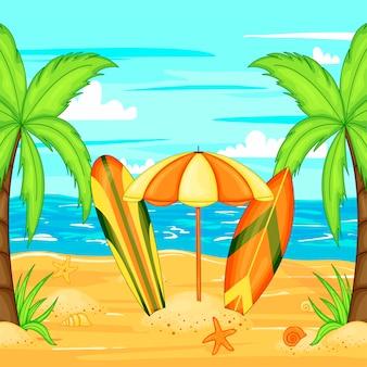 Sombrilla en la playa por el agua.