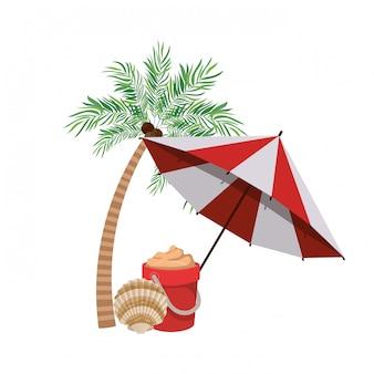 Sombrilla de playa a rayas de verano.