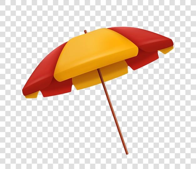 Sombrilla de playa roja y amarilla realista aislada sobre fondo transparente