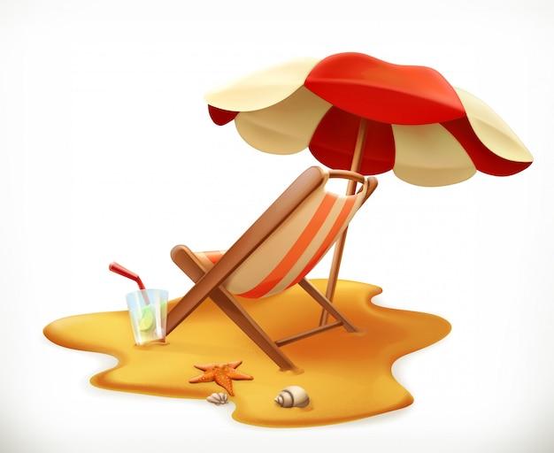 Sombrilla de playa y sillón, icono 3d | Vector Premium