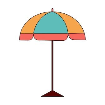 Sombrilla de playa de verano. ilustración simple aislado sobre fondo blanco. icono de verano