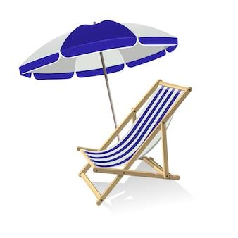 Sombrilla y tumbona de madera. viaje de verano, vacaciones en el mar y concepto de viaje tropical.