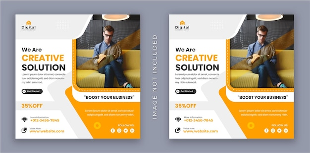 Somos una agencia de soluciones creativas, folleto de negocios corporativos, banner de publicación de redes sociales de instagram cuadrado