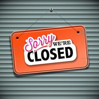 Somos cartel cerrado - cartel vintage con información de tienda minorista cerrada, ilustración vectorial.