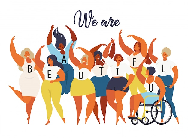 Somos hermosos. gráfico internacional del día de las mujeres en vector.