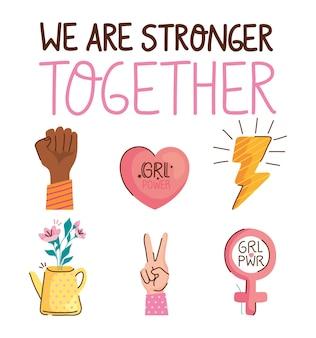 Somos más fuertes juntos letras con ilustración de iconos de conjunto
