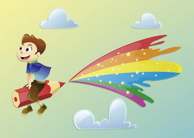 Soñador niño vuela en un lápiz de color mágico