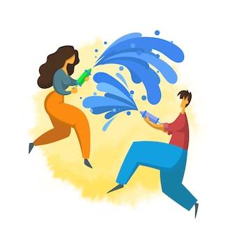 Songkran, festival de año nuevo tailandés. hombre y mujer vertiendo agua el uno al otro. ilustración con estilo. sobre fondo blanco.