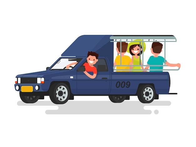 Songteo o tuk tuk taxi con ilustración de pasajeros