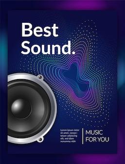 Sonido de equipo de audio realista para cartel promocional de música con ilustración de textura de onda
