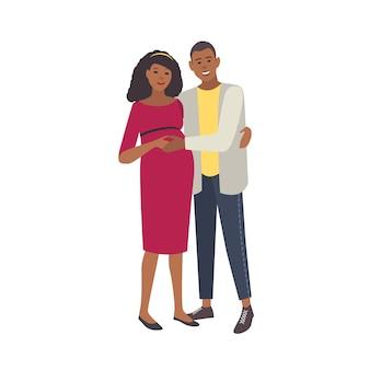 Sonriendo abrazando a mujer embarazada y hombre sobre fondo blanco. par de jóvenes padres amorosos. feliz embarazo, anticipación del parto. ilustración colorida en estilo de dibujos animados