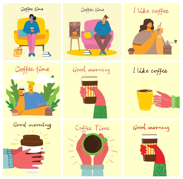 Sonriendo amigos de la gente tomando café y hablando.
