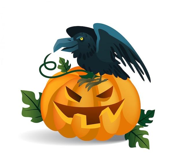 Sonriendo calabaza y cuervo sentado en él. personajes de dibujos animados de halloween