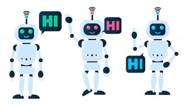 Sonriendo chatbot en movimiento ayudando a resolver problemas, saludo.