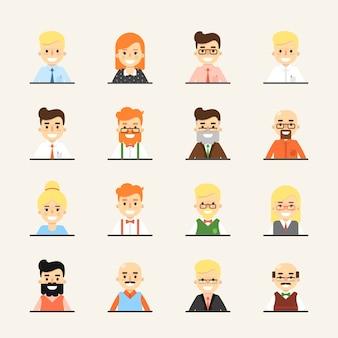 Sonriendo dibujos animados personas avatar set