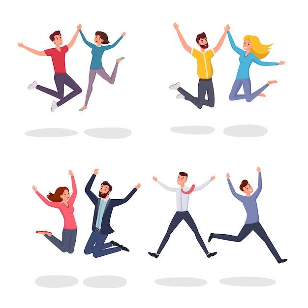 Sonriendo estudiantes, colegas, pareja, amigos saltando en personajes de dibujos animados de emoción