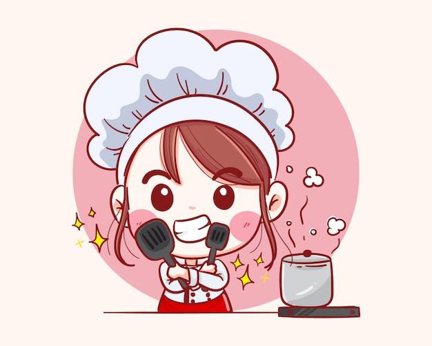 Sonriendo feliz mujer pastelero. chef mujer está cocinando dibujado a mano ilustración.