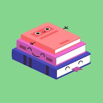 Sonriendo linda pila de libros de colores