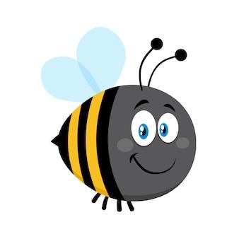 Sonriendo lindo bumble bee personaje de dibujos animados. vector ilustración plana aislado