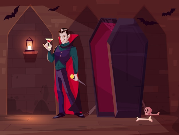 Sonriendo vampiro, cuenta a drácula de pie con un vaso de sangre cerca del ataúd abierto en la oscura mazmorra