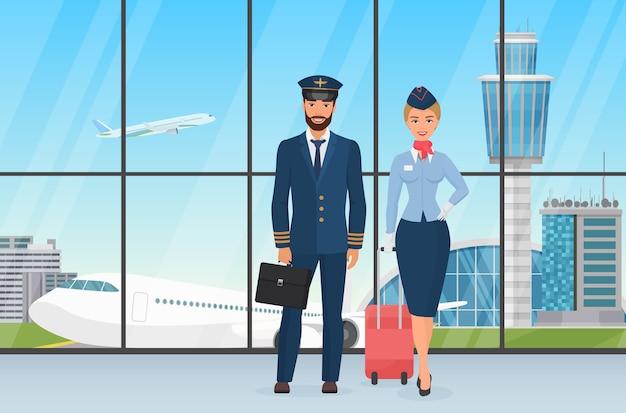 Sonriente azafata y piloto personal del aeropuerto de pie ante la vista sobre el despegue del avión y la caricatura de la torre de observación