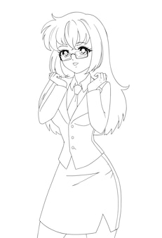 Sonriente chica de manga anime vistiendo traje de oficina