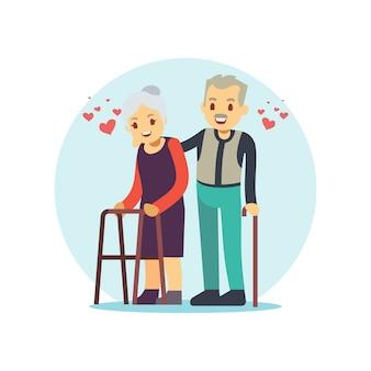 Sonriente y feliz pareja de ancianos