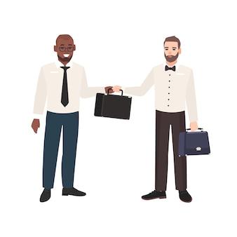 Sonriente hombre barbudo pasando maletín a su socio comercial aislado sobre fondo blanco. escena con dos oficinistas o empleados. ilustración de vector colorido en estilo moderno de dibujos animados plana.