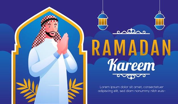 Sonriente hombre musulmán dando la bienvenida a ramadán kareem