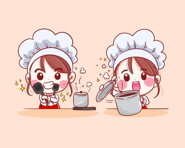 Sonriente mujer chef. chef mujer está cocinando ilustración dibujada a mano