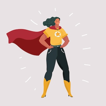 Sonriente mujer segura en traje de superhéroe