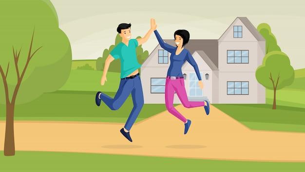 Sonriente pareja y casa de campo ilustración plana. ganga, buena compra, alegría, emociones positivas. familia feliz, saltando novio y novia personajes de dibujos animados al aire libre