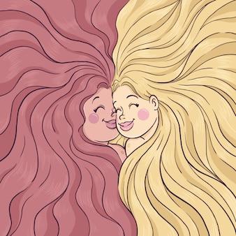 Sonriente pareja de chicas con ilustración de pelo largo