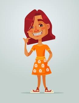 Sonriente personaje adolescente niña feliz con sistema de soportes. dibujos animados