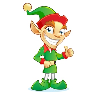 Sonriente personaje de dibujos animados de duende de navidad mostrando pulgares arriba signo