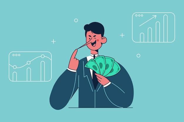 Sonriente personaje de dibujos animados de empresario mentiroso de pie sosteniendo un montón de dólares en la mano y una ilustración de nariz larga