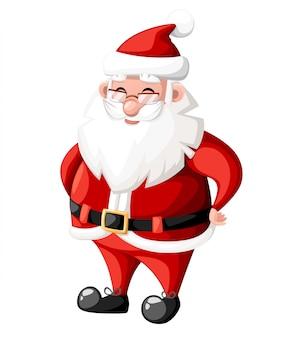 Sonriente personaje de dibujos animados de navidad santa claus con ilustración de personaje de vacaciones de sombrero rojo sobre fondo blanco