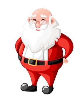 Sonriente personaje de dibujos animados de navidad santa claus sin sombrero sombrero ilustración de personaje de vacaciones sobre fondo blanco