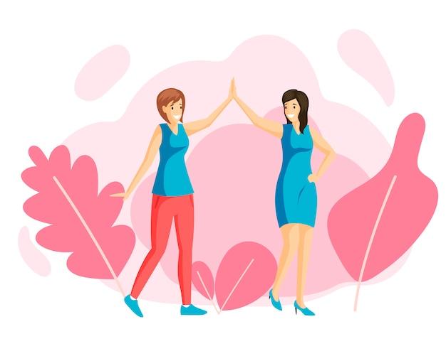 Sonrientes chicas jóvenes dando cinco alta, amigos ilustración plana. amistad de mujeres, caminata familiar, recreación, descanso juntos. amigas tomados de la mano, hermanas felices personajes de dibujos animados