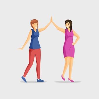 Sonrientes chicas jóvenes dando cinco alta ilustración plana. pareja de baile, amistad de mujeres, ocio alegre juntos. amigas saludo personajes de dibujos animados aislados en blanco