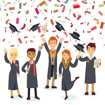 Sonrientes graduados y lluvia de confeti de colores