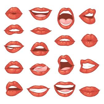 Sonrisa de dibujos animados de beso de labios y hermosos labios rojos o lápiz labial de moda y besos de boca sexy encantador en el día de san valentín conjunto ilustración aislado sobre fondo blanco.