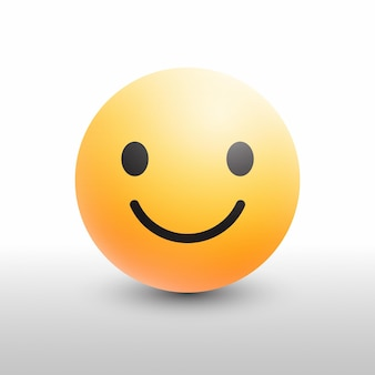 Sonrisa emoji 3d icono moderno para redes sociales sobre fondo blanco.