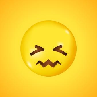Sonrisa infeliz confundida del emoticon. gran sonrisa en 3d.