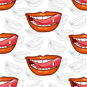 Sonrisa de labios rojos de patrones sin fisuras