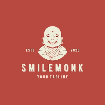 Sonrisa monje vector logo plantilla