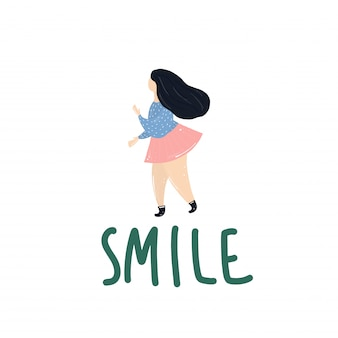 Sonrisa niña con sobrepeso