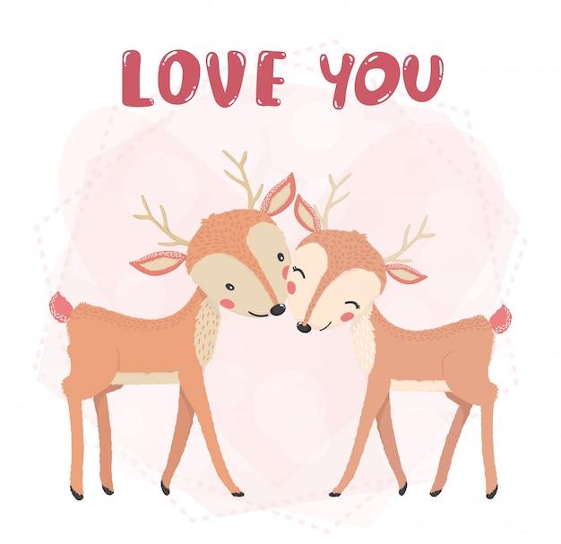 Sonrisa de renos de pareja linda plana, beso con palabra de amor, tarjeta de san valentín, idea de personaje animal lindo para camiseta y material imprimible de niño y niño, tarjeta de felicitación, arte de pared de guardería, postal