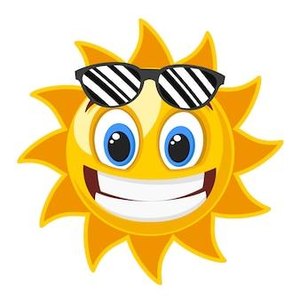 Sonrisa de sol en gafas negras sobre blanco.