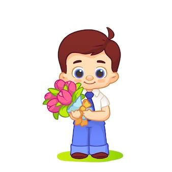 Las sonrisas lindas del colegial permanecen en uniforme escolar con corbata con flores de tulipanes. ilustración sobre fondo blanco
